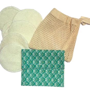 PACK DE 7 Lingettes démaquillantes , son filet de lavage et sa pochette de rangement en coton biologique